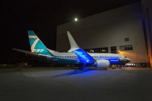 The first Boeing 737 MAX 7 made its debut today at the company's Renton, Wash. factory. Photo by Craig Larsen. (PRNewsfoto/Boeing)