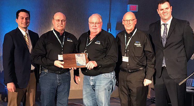 Award to Devils Lake Airport - Left to right are Kyle Wanner – ND Aeronautics Commission Director, Dennis Olson – Airport Authority Chairperson, John Nord – Airport Manager, Rodger Haugen – Airport Authority Member, and Matthew Remynse – President of the Airport Association of North Dakota.