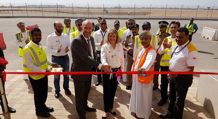 (Left to right) David Wilson, Chief Operations Officer, Oman Airports Management Company with Anne Anderson, Vice President Shell Aviation, and Salim Awadh Said Al Yafaey, General Manager, Salalah International Airport, at Salalah International Airport