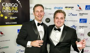 Tristan Koch, Director – Cargo Sales for Europe, the Middle East and Africa, poses with Rick Elieson, President – American Airlines Cargo, at the awards ceremony in April.