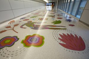The new South Concourse features a colorful terrazzo floor by Arizona artist Teresa Villegas.